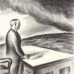 Truman looking off to the war overseas (cartoon)