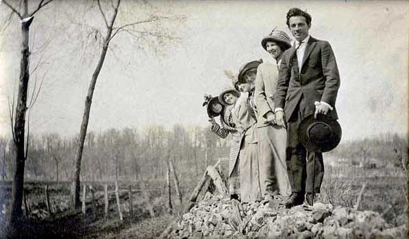 Photograph of Benton and companions.
