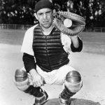 Berra in catcher's uniform