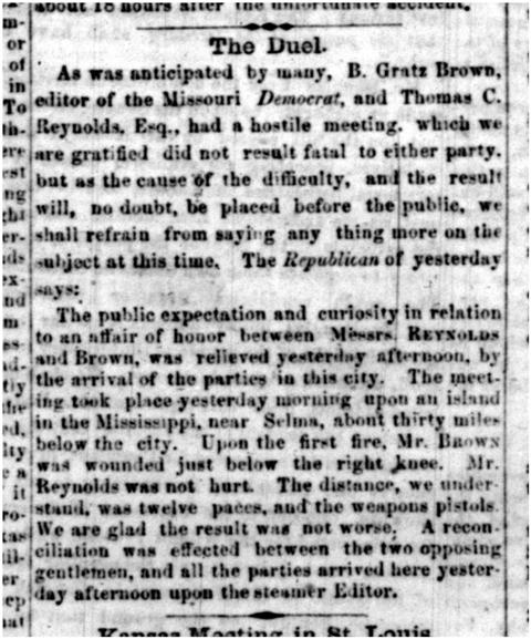 Jefferson City Inquirer reported on the duel