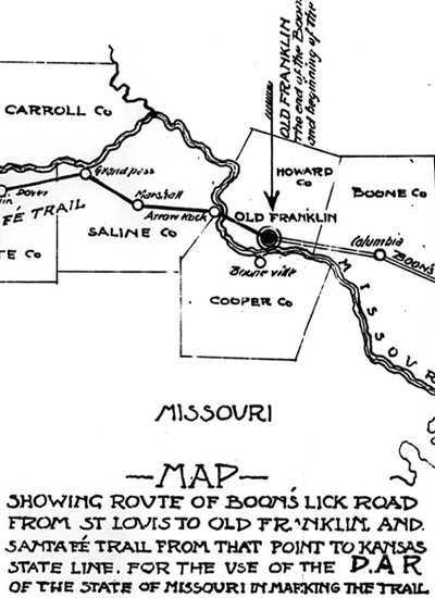 Boone's Lick Trail map.