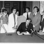 Harriett Woods at bill signing