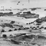 bird's-eye view of Normandy landing