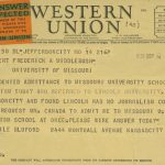 telegram from Lucile Bluford to President Middlebush