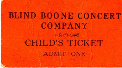 Blind Boone child's ticket