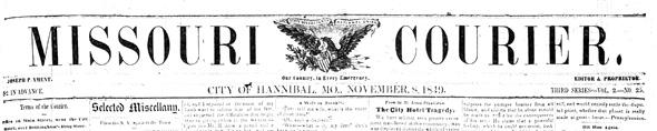Missouri Courier banner, 1850