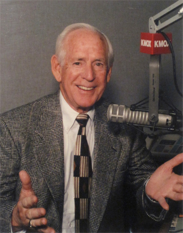 Jack Buck. with KMOX microphone