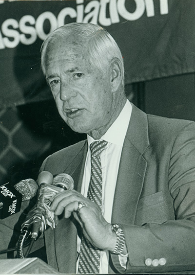 Jack Buck at the KMOX podium