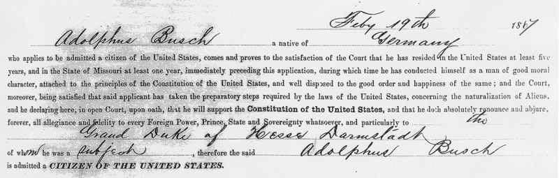 Busch Naturalization Record