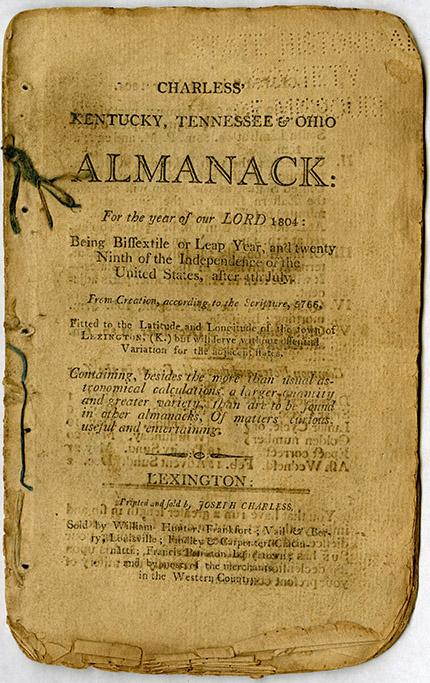 Charless' 1804 Almanac front cover