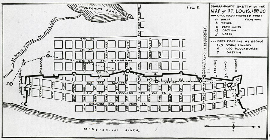 Map of St. Louis, 1819–1820.