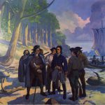 Nuderscher painting of Laclede and Chouteau landing