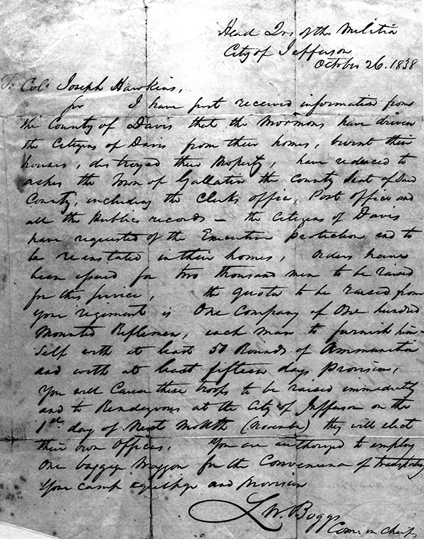 Governor Boggs Letter