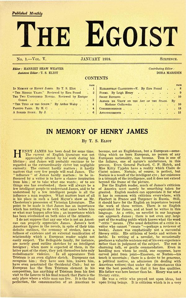 The Egoist, Jan 1918