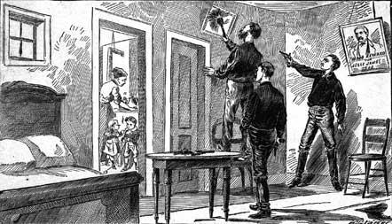 engraving depicting Robert Ford shooting Jesse James