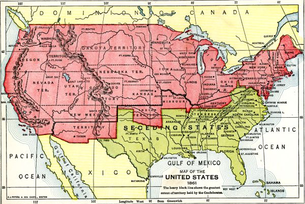 Map of US, 1861