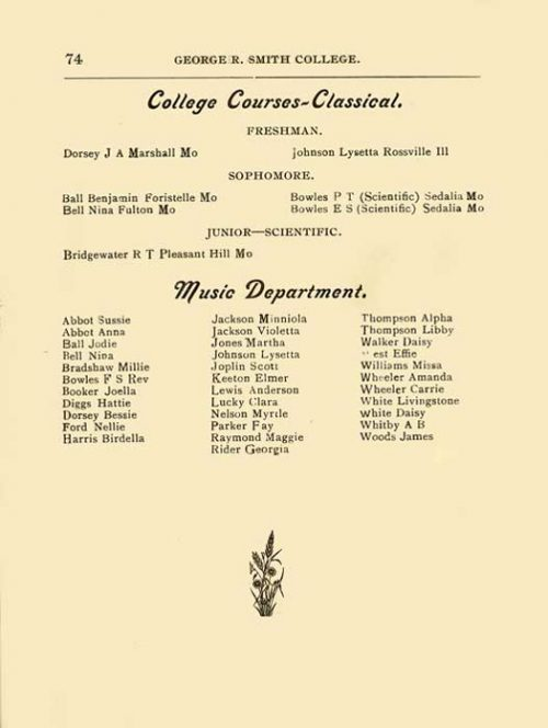 1900-1901 Music Department Roster