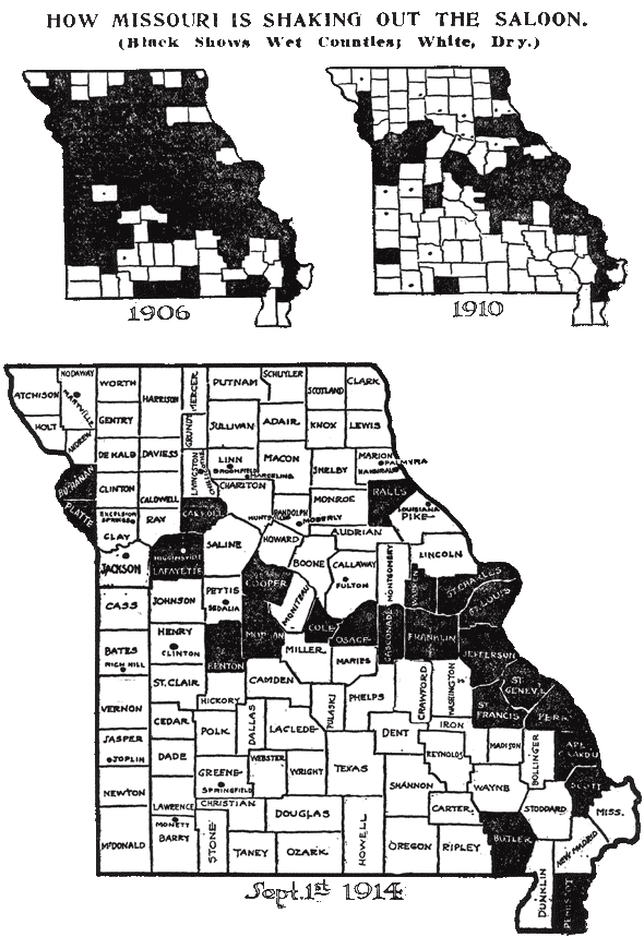 Map of MO dry counties