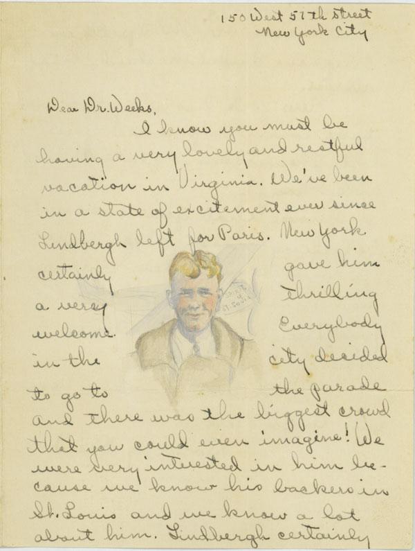 Letter describing excitement surrounding Lindbergh's flight