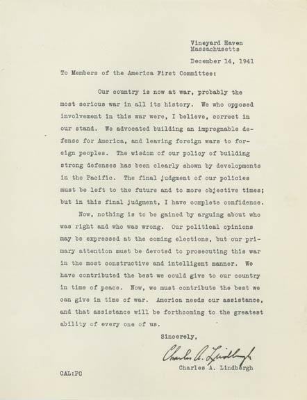 Lindbergh letter