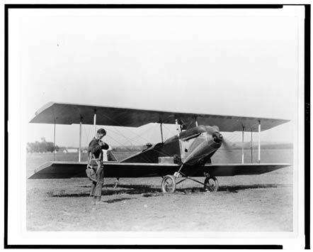 Lindbergh adjusts his parachute