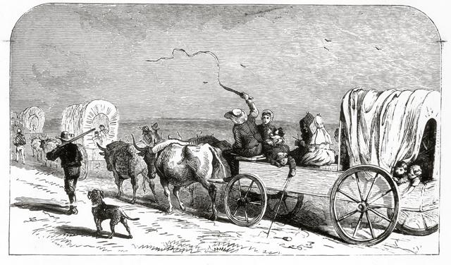 wagon train on the Santa Fe Trail