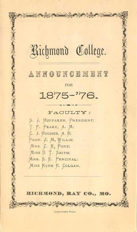 Richmond College, 1875-76 Announcement page 1