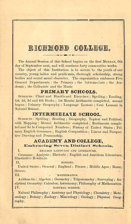 Richmond College, 1875-76 Announcement page 2