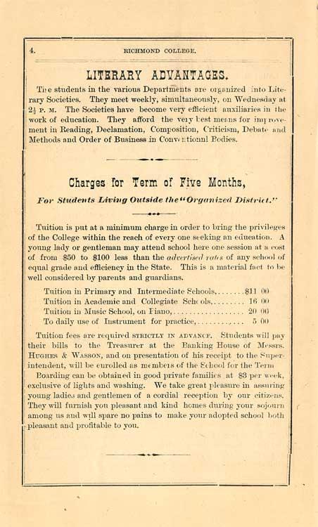 Richmond College, 1875-76 Announcement page 4