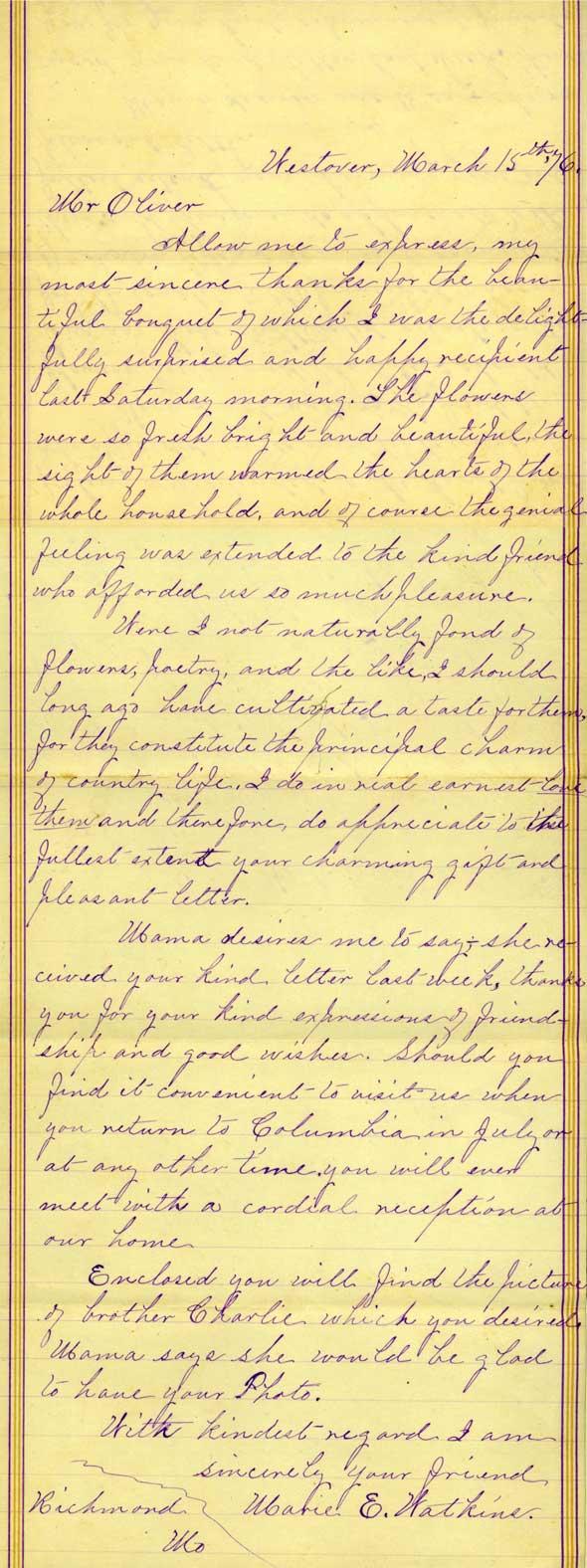 Letter from Marie Watkins to Robert Burett Oliver.