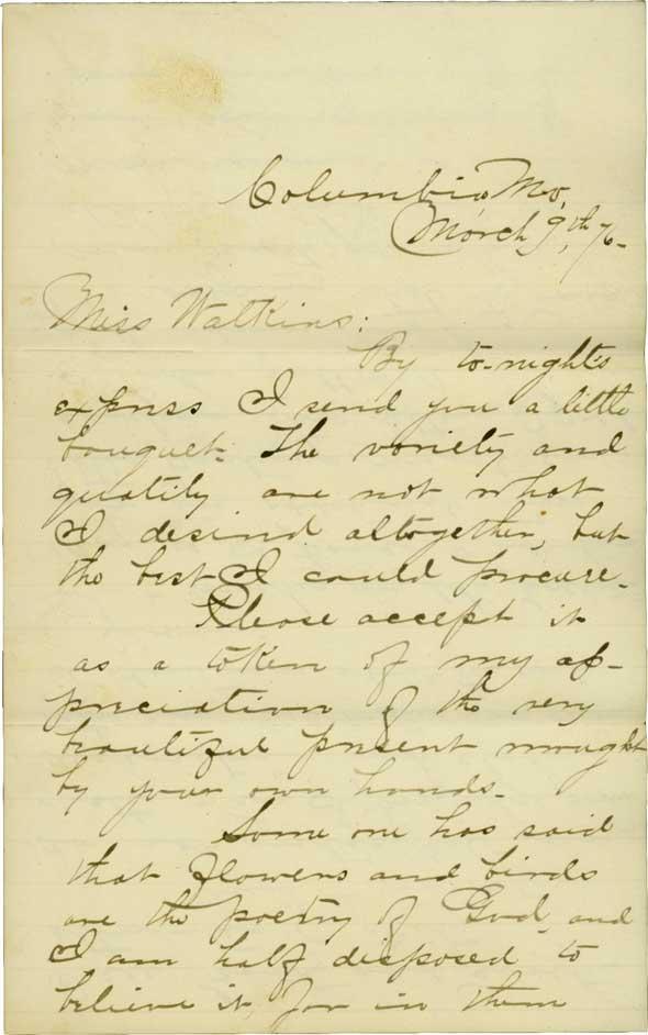 Letter between Marie Watkins and Robert Burett Oliver