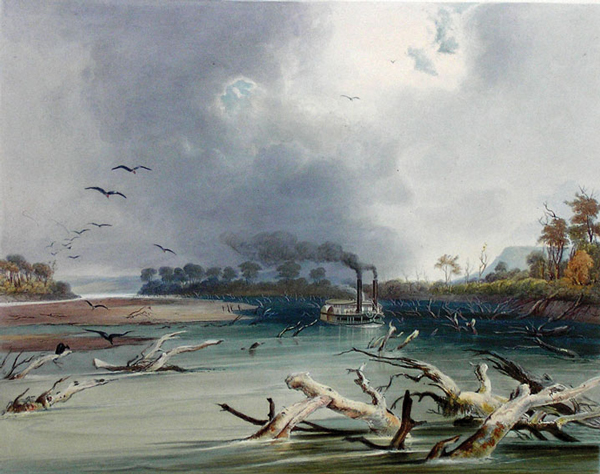 Karl Bodmer painting of sunken trees in a river