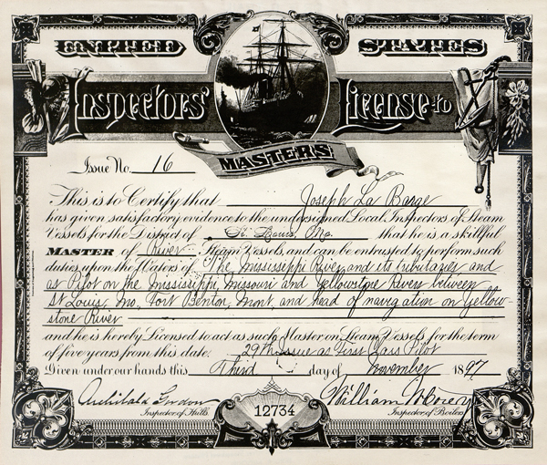Joseph LaBarge's steamboat license