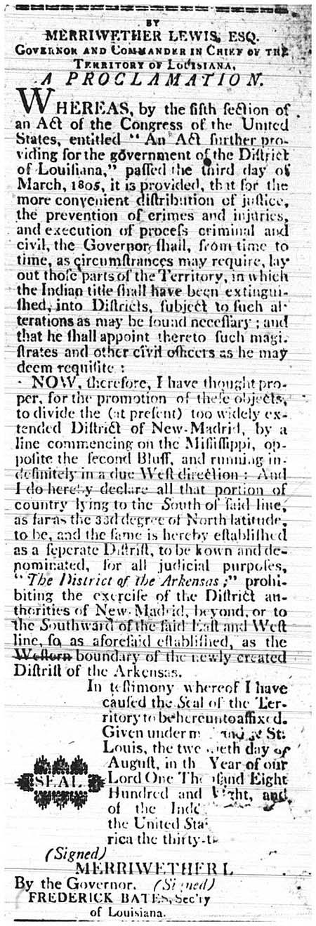 Meriwether Lewis Proclamation