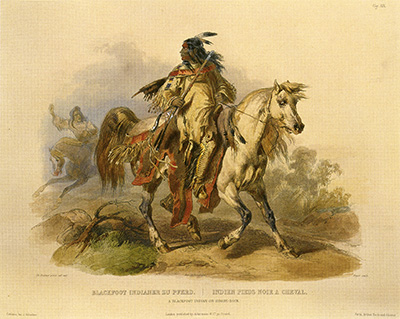 A Blackfoot Warrior on Horseback.