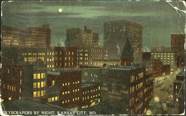 Kansas City at night postcard