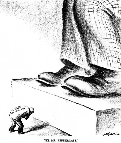 State legislature bowing to Pendergast cartoon