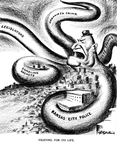 Pendergast as an angry octopus with his tentacles encircling Kansas City