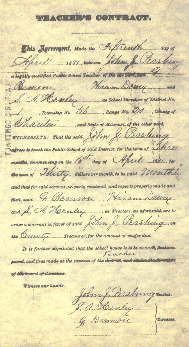 Pershing's teaching contract