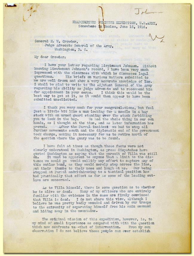 Letter from Pershing to Crowder