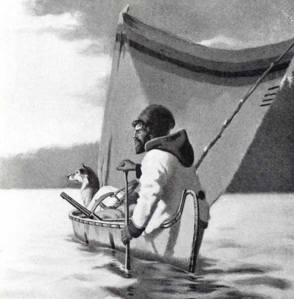 Fur trader in a canoe