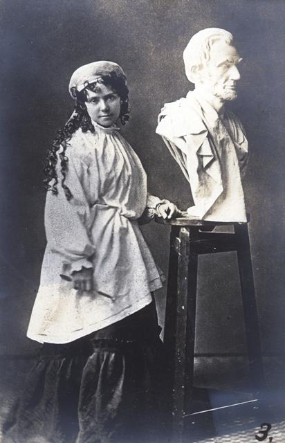 Vinnie Ream with bust of Lincoln.