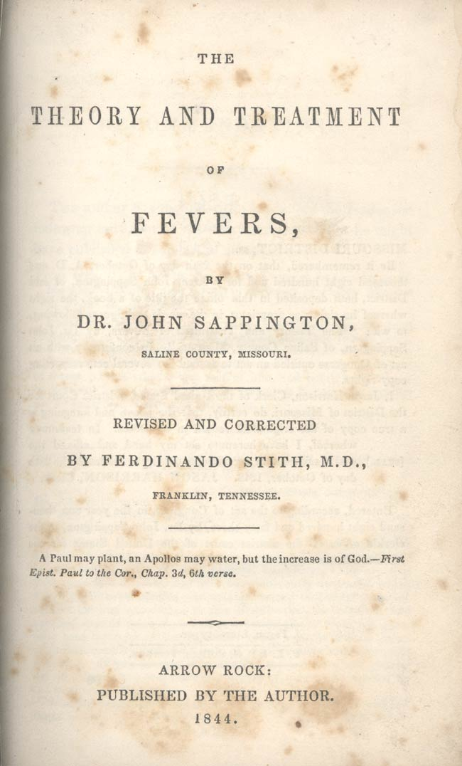 Sappington's Theory and Treatment of Fevers cover