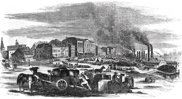 St. Louis levee, mid-1800s