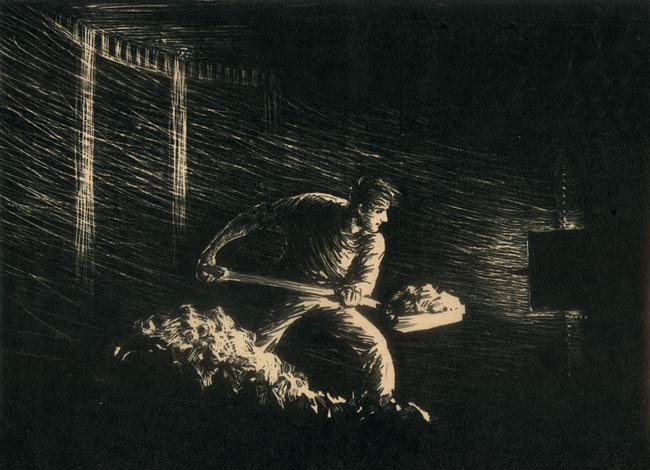 Print of a worker shoveling coal