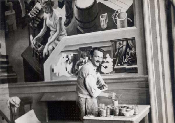 "Benton painting mural ""Social History..."""