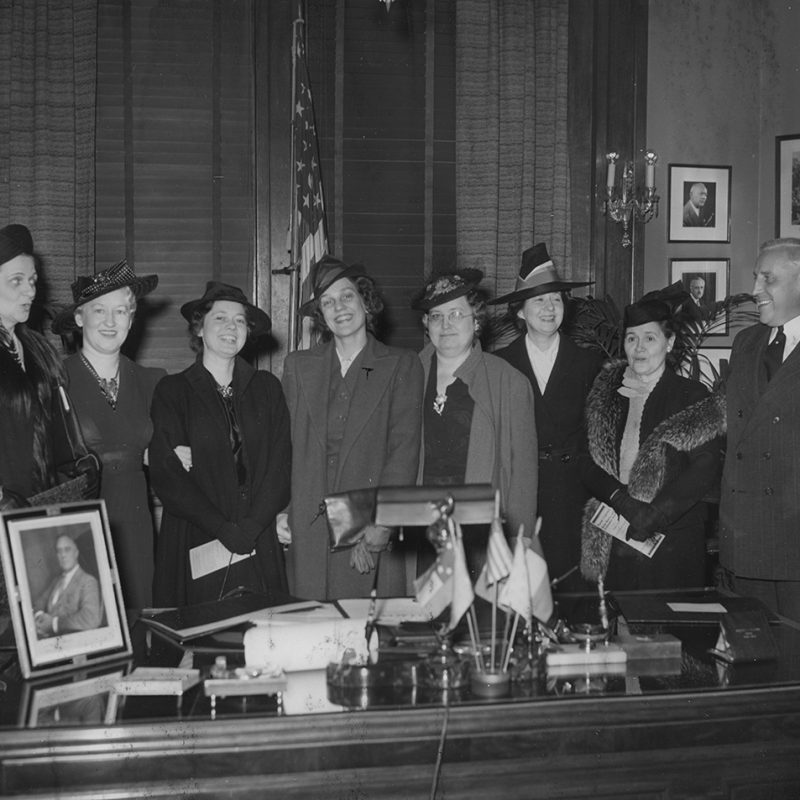 Democratic Women's Regional Conference showing St. Louis Mayor Bernard Dickmann and Emily Newell Blair on the right, 1939