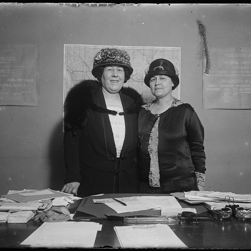 Mrs. D.A. McDougal and Emily Newell Blair, two members of the arrangements committee for the Democratic National Convention in New York in 1924