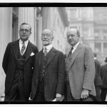 Harry W. Blair (far right) with Dallett E. Wilson and August Hechscher on October 12, 1923