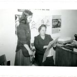 Sara Lockwood Williams and a student in her office at Rockford College, 1945